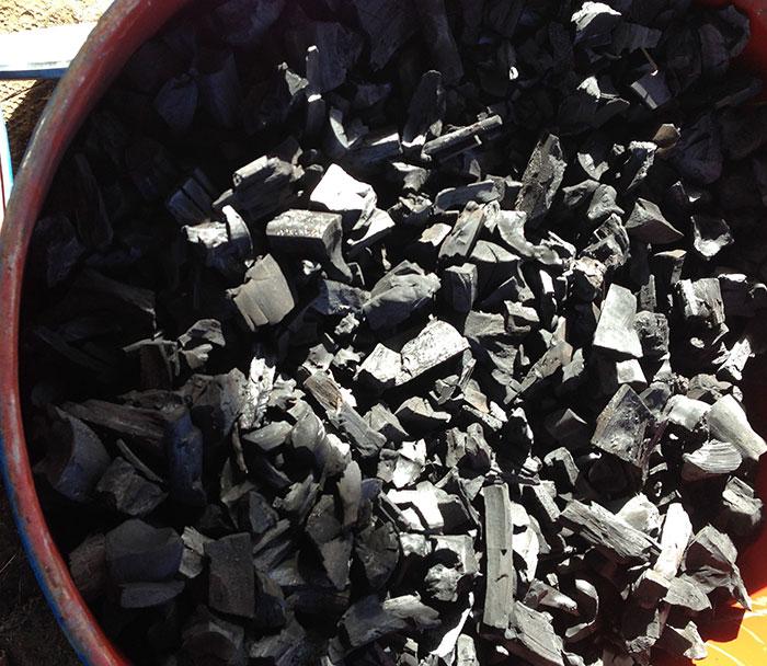 Bucket of charcoal